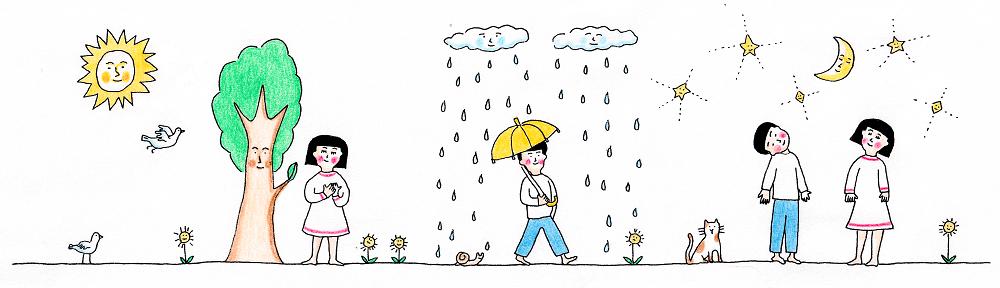 イラスト:晴れの日、雨の日、日常の生活